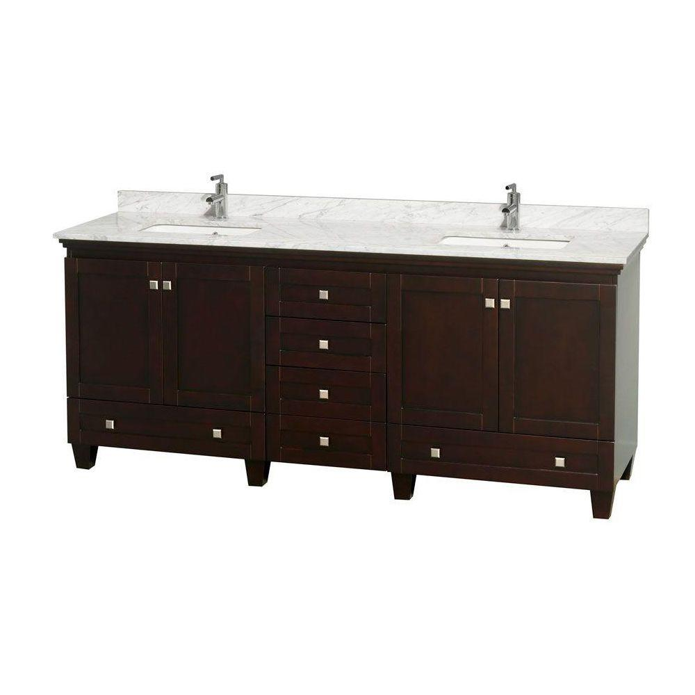 Acclaim 80 in. Double Vanity in Espresso with Marble Vanity Top