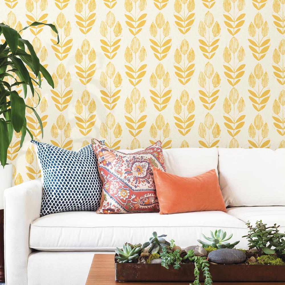 Beacon House Scandinavian Yellow Block Print Tulip Wallpaper 2535