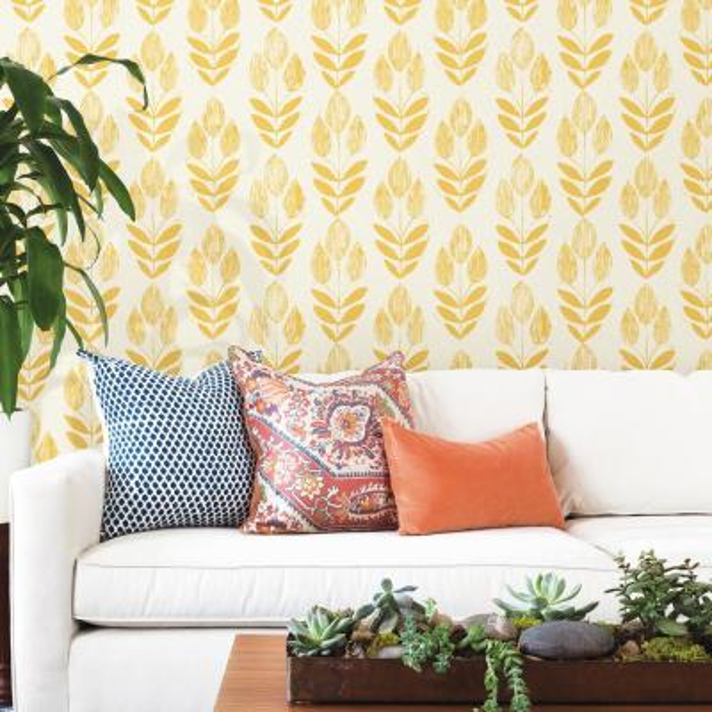 Scandinavian Yellow Block Print Tulip Wallpaper