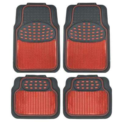 Rubber Metallic MT-614 Red Trimmable Heavy Duty  4-Piece Car Floor Mats
