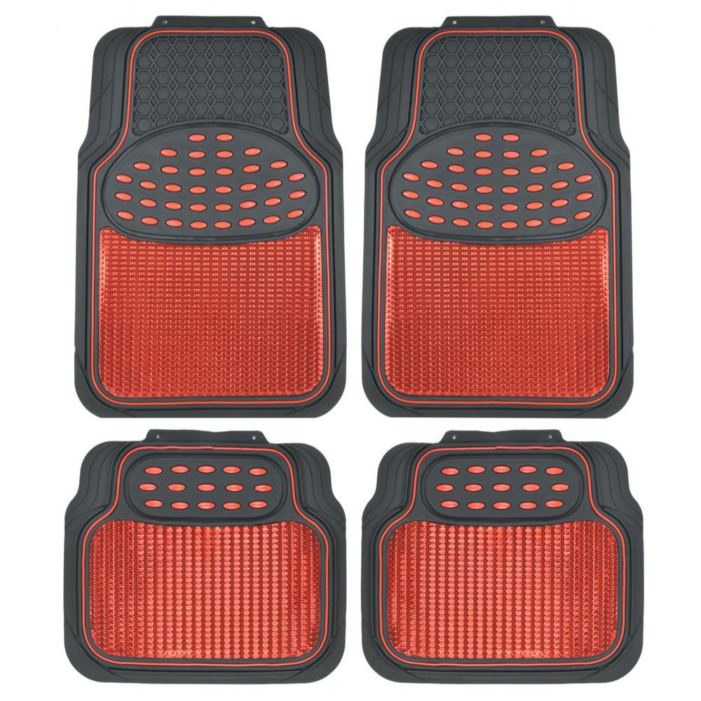 Heavy Duty Floor Mats >> Bdk Rubber Metallic Mt 614 Red Trimmable Heavy Duty 4 Piece Car Floor Mats