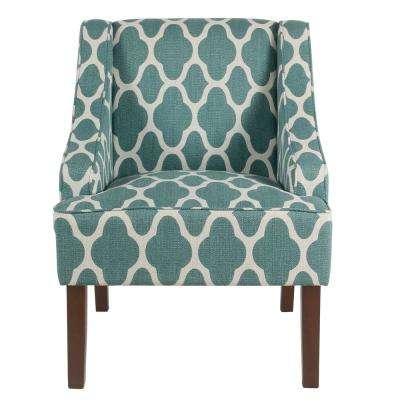 Geometric Light Teal Classic Swoop Arm Chair