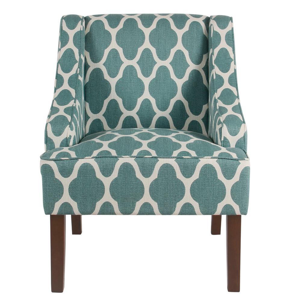 Homepop Geometric Light Teal Classic Swoop Arm Chair