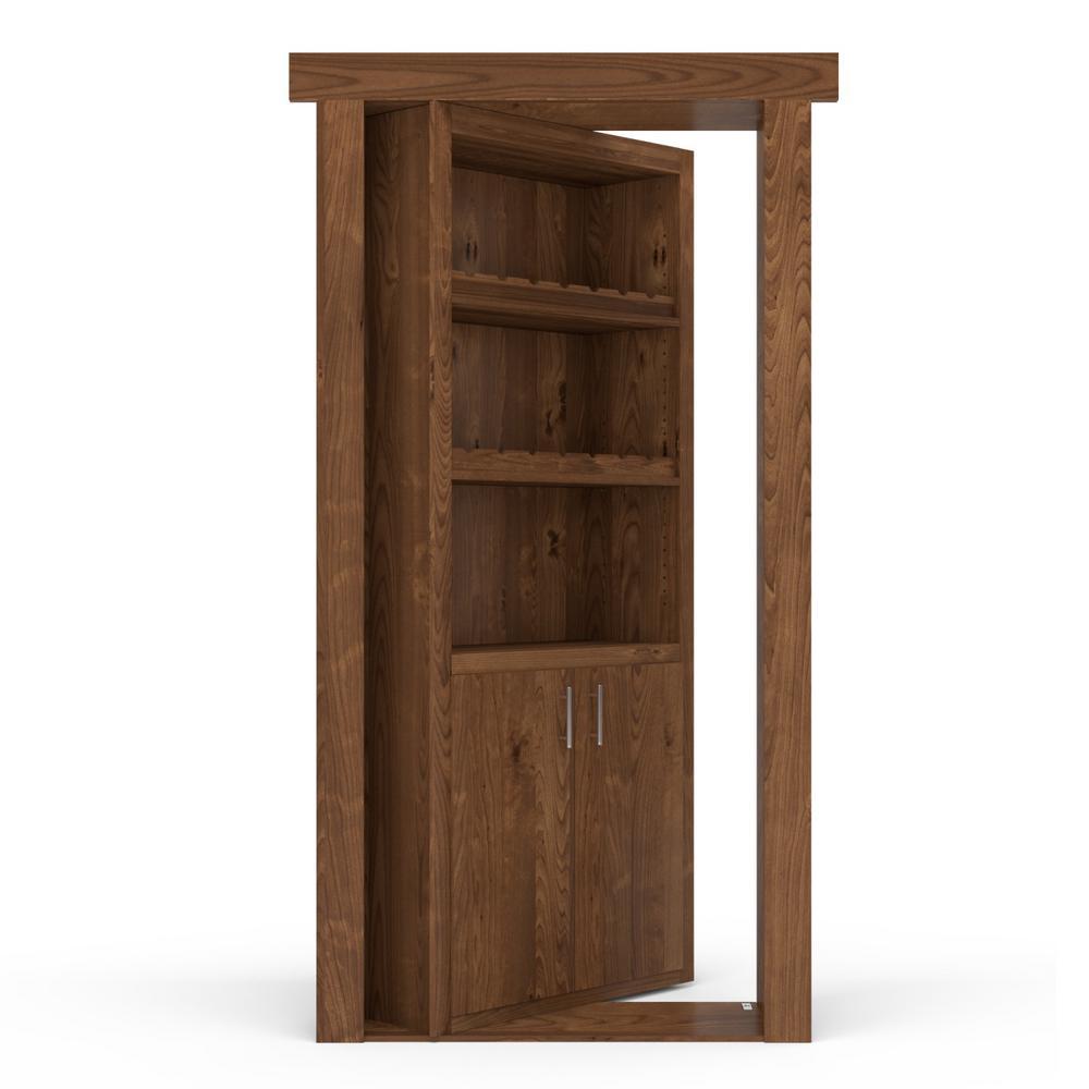 36 in. x 80 in. Flush Mount Assembled Alder Medium Stained Left-Hand Inswing Wine Rack Door
