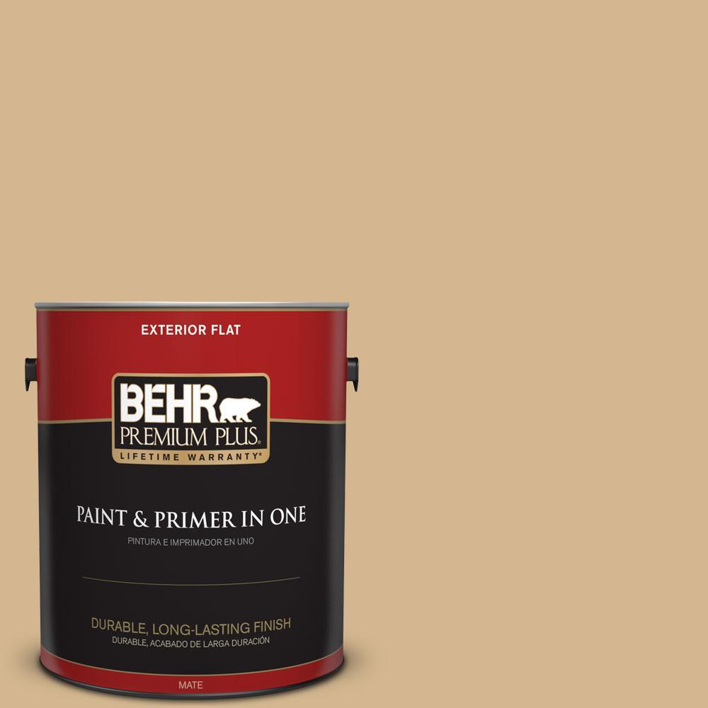 BEHR Premium Plus 1-gal. #320F-4 Desert Camel Flat Exterior Paint