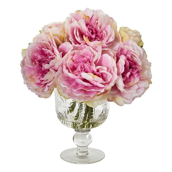 Nearly Natural Indoor Peony Artificial Arrangement in Royal Glass Urn 1849-PK
