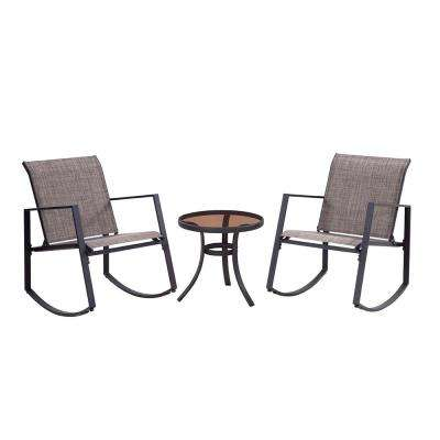 Black 3-Piece Metal Aurora Sling Outdoor Seating Set