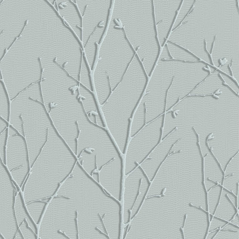 Evita Water Silk Sprig Teal Wallpaper Sample