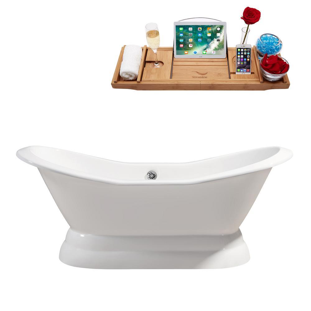 72 in. Cast Iron Flatbottom Non-Whirlpool Bathtub in White