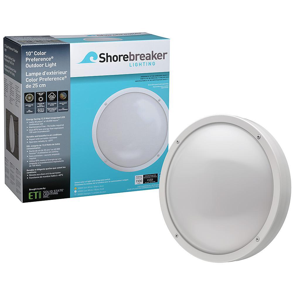 Shorebreaker 10 in. White Round LED Outdoor Bulkhead Light Nautical Coastal Wall Ceiling 1100 Lumens 3000K 4000K 5000K