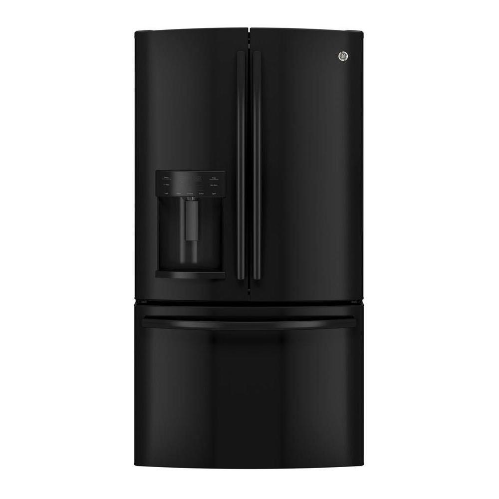 GE 27 8 cu  ft  French Door Refrigerator in Black, ENERGY STAR