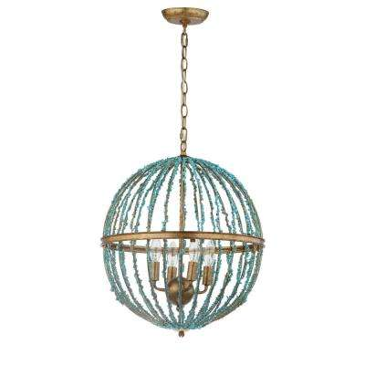 Lalita Cage 4-Light Blue Chandelier