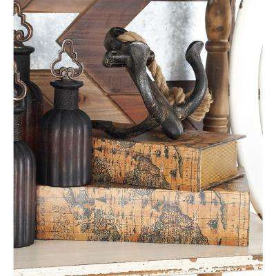 Sepia Brown and Tan Pine Wood Old World Map Book-Style Decorative Boxes (Set of 3)