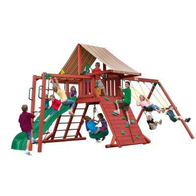 Sun Climber II Wooden Swing Set with Sunbrella® Canvas Brannon Redwood Canopy and Monkey Bars