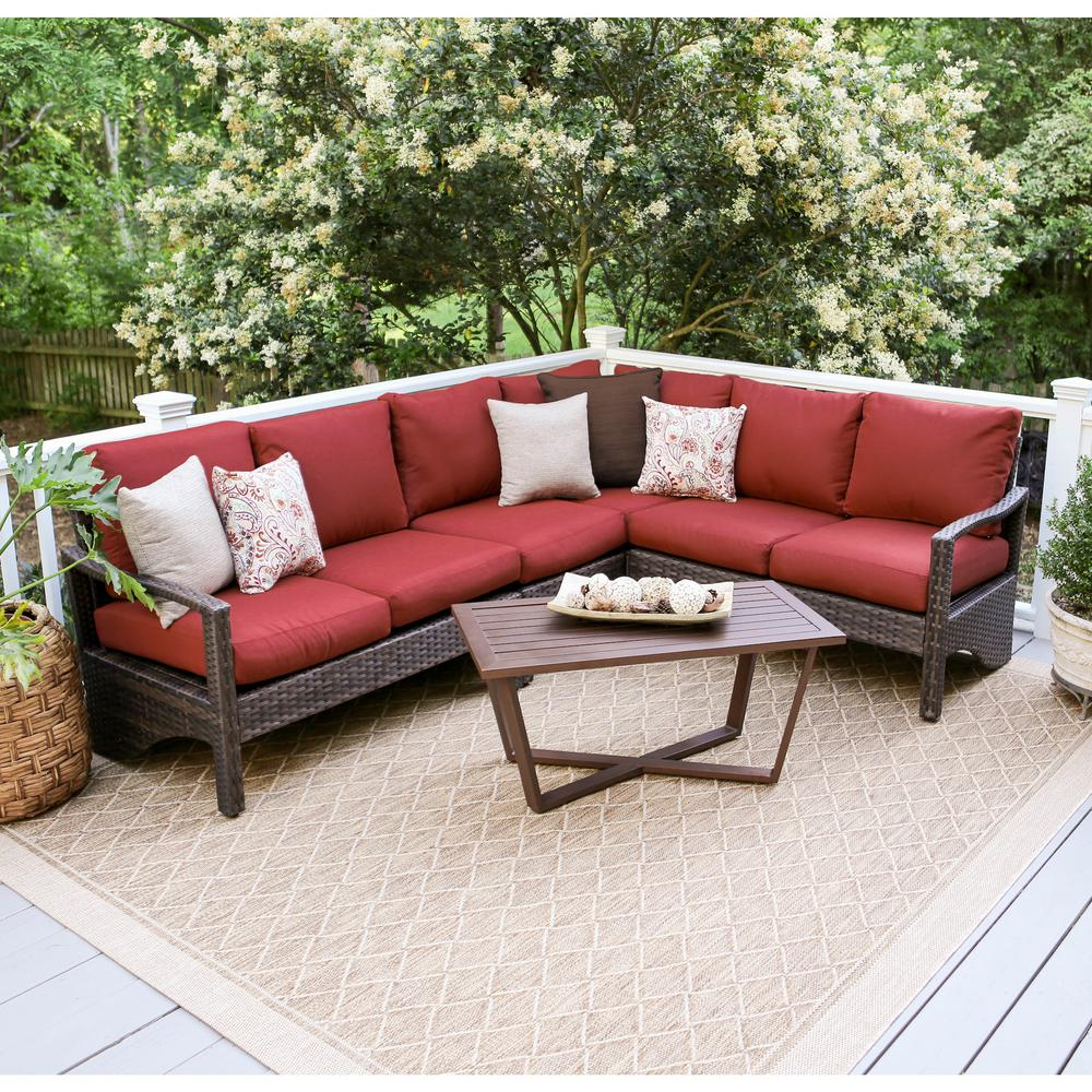 Outdoor Sectional Sofa Images: Hampton Bay Granbury 6-Piece Metal Outdoor Sectional With