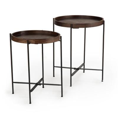 Capri Brown Round Accent Tables with Mango wood with Iron Base (Set of 2)