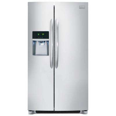 36 in. W 23 cu. ft. Side by Side Refrigerator in Stainless Steel, Counter Depth