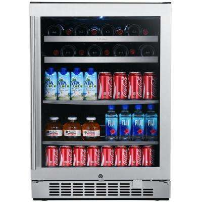 24 in. 84-Can and 22-Bottle Single Door Seamless Stainless Steel Single Zone Built-In Beverage and Wine Cooler