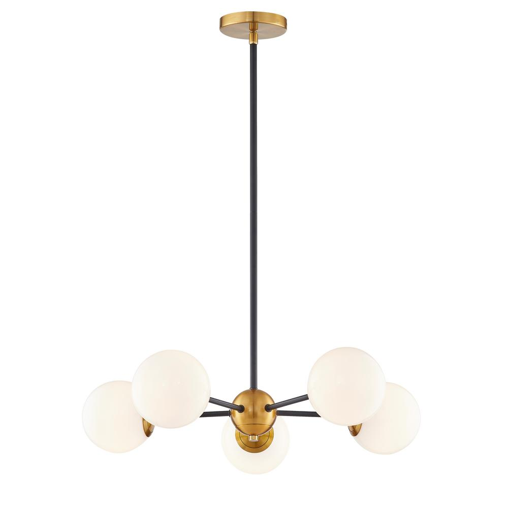 Fifth And Main Lighting Aria 5 Light 24 In Integrated G9 25 Watt Led Burnished Br Matte Black Chandelier With Opal Gl Shades