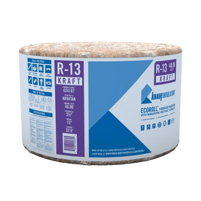 R-13 EcoRoll Kraft Faced Fiberglass Insulation Roll 3-1/2 in. x 15 in. x 32 ft.