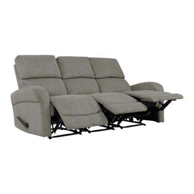 Warm Gray Chenille 3-Seat Recliner Sofa