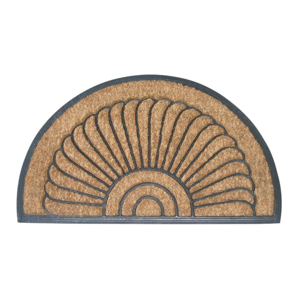 Entryways Shell Half Round 18 In X 30 Recycled Rubber And Coir Door