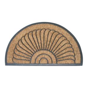 Entryways Shell Half Round 18 inch x 30 inch Recycled Rubber and Coir Door Mat by Entryways