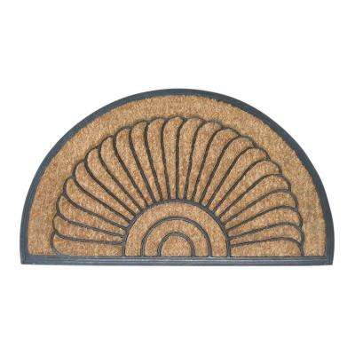 Shell Half Round 18 in. x 30 in. Recycled Rubber and Coir Door Mat
