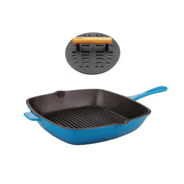 BergHOFF Neo Cast Iron Grill Pan with Steak Press 2211792