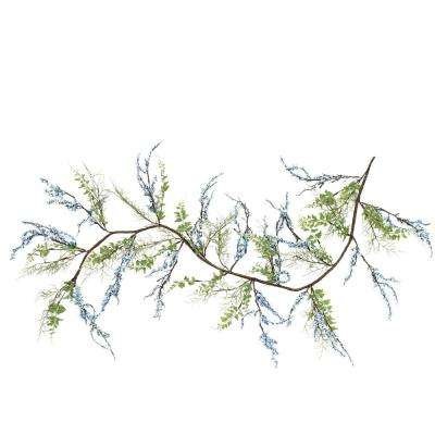5 ft. Green Blue and Brown Mixed Berry and Spring Floral Decorative Artificial Garland