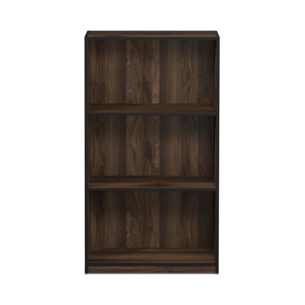 Furinno Basic Columbia Walnut 3-Shelf Open Bookcase 99736CWN