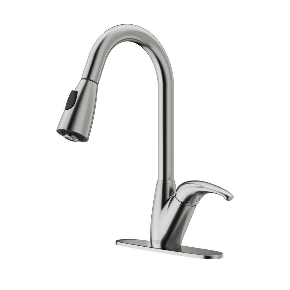 VIGO Romano Single-Handle Pull-Down Sprayer Kitchen Faucet with Deck ...