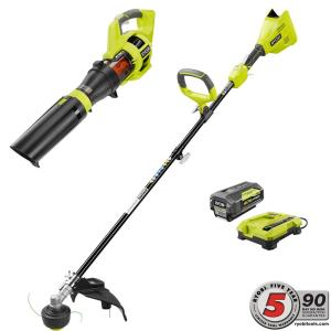 Deals on RYOBI 40V Cordless String Trimmer + Blower w/Battery & Charger