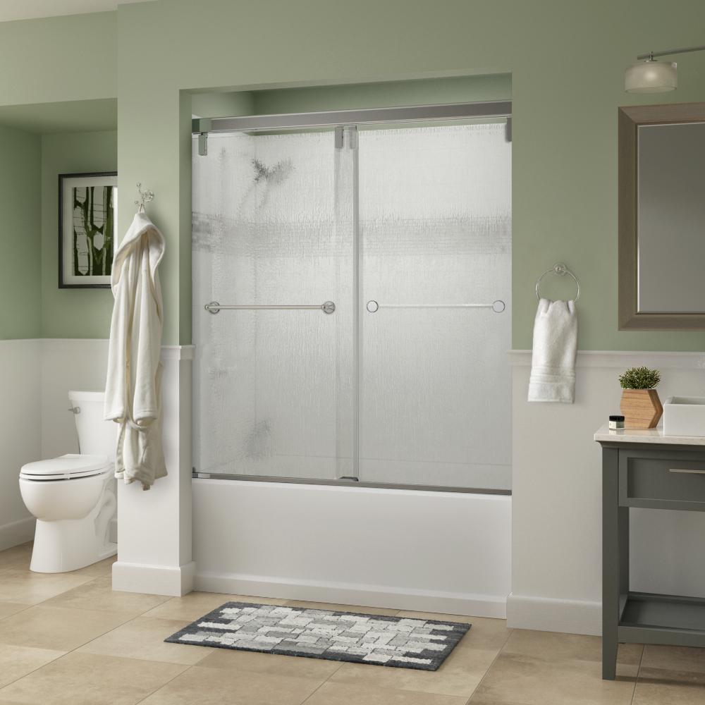 Crestfield 60 in. x 59-1/4 in. Semi-Frameless Mod Sliding Tub Door