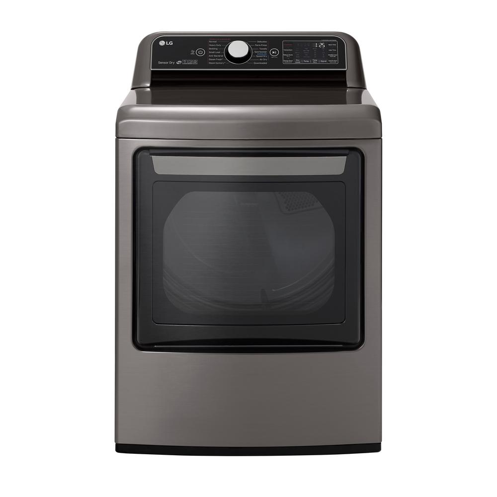 LG Electronics 7.3 cu. ft. Ultra Large Smart Front Load Gas Dryer with EasyLoad Door, TurboSteam, and Wi-Fi Enabled in Graphite Steel