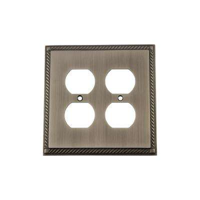 Rope Switch Plate with Double Outlet in Antique Pewter
