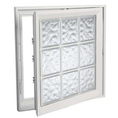 21 in. x 21 in. Right-Hand Acrylic Block Casement Vinyl Window with White Interior and Exterior