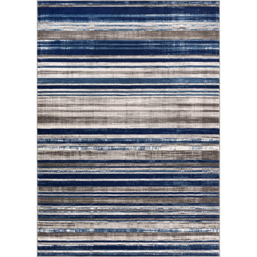 Well Woven Amba Signature Stripes Blue 8 Ft X 10 Ft Modern Distressed Area Rug