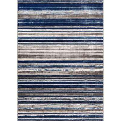Amba Signature Stripes Blue 8 Ft. X 10 Ft. Modern Distressed Area Rug