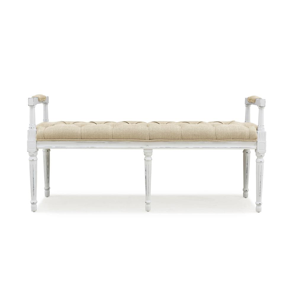 Ramah Antique White Wood and Upholstered Top Bench Ottoman in Creamy