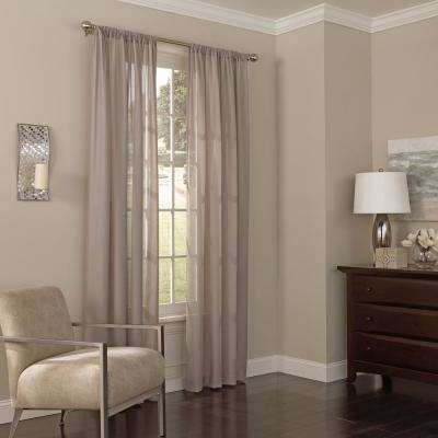 52 in. W x 63 in. L Chelsea Sheer Polyester Window Curtain Panel in Dark Grey