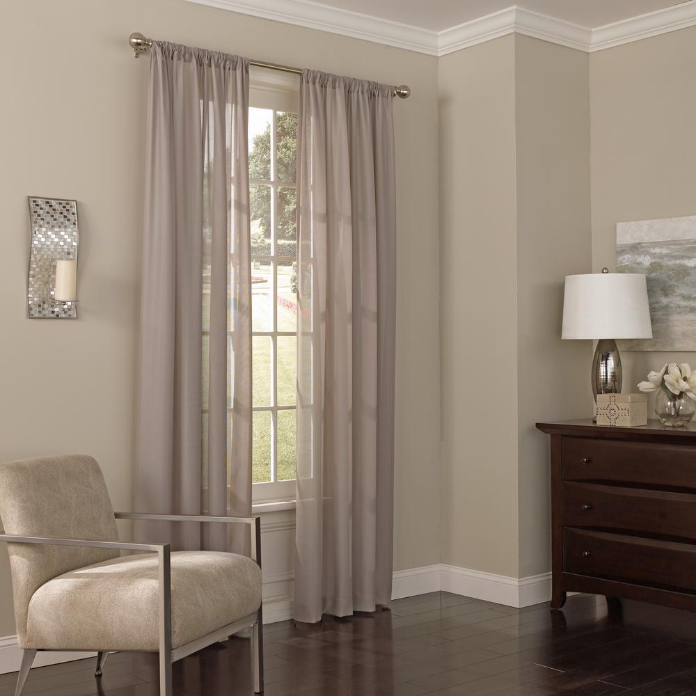 52 in. W x 63 in. L Chelsea Sheer Polyester Window Curtain Panel in Dark Grey