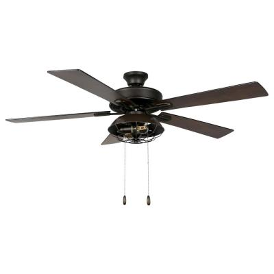 Quintin 52 in. LED Indoor Bronze Lantern Ceiling Fan with Light