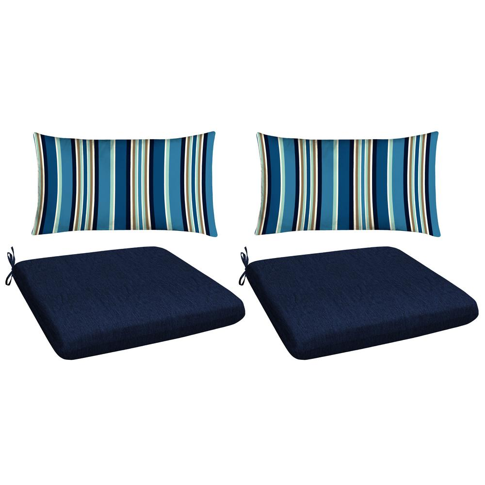 Honeycomb Navy 4 Piece Outdoor Mix And Match Dining Chair Cushion Set 71040100 The Home Depot