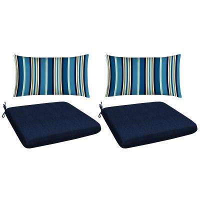 Navy 4-Piece Outdoor Mix and Match Dining Chair Cushion Set