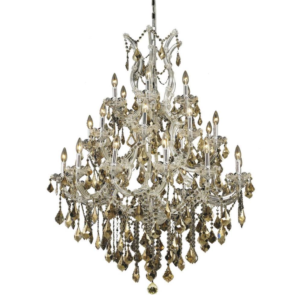 Elegant Lighting 28-Light Chrome Chandelier with Golden Teak Smoky Crystal
