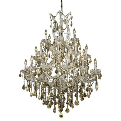 28-Light Chrome Chandelier with Golden Teak Smoky Crystal