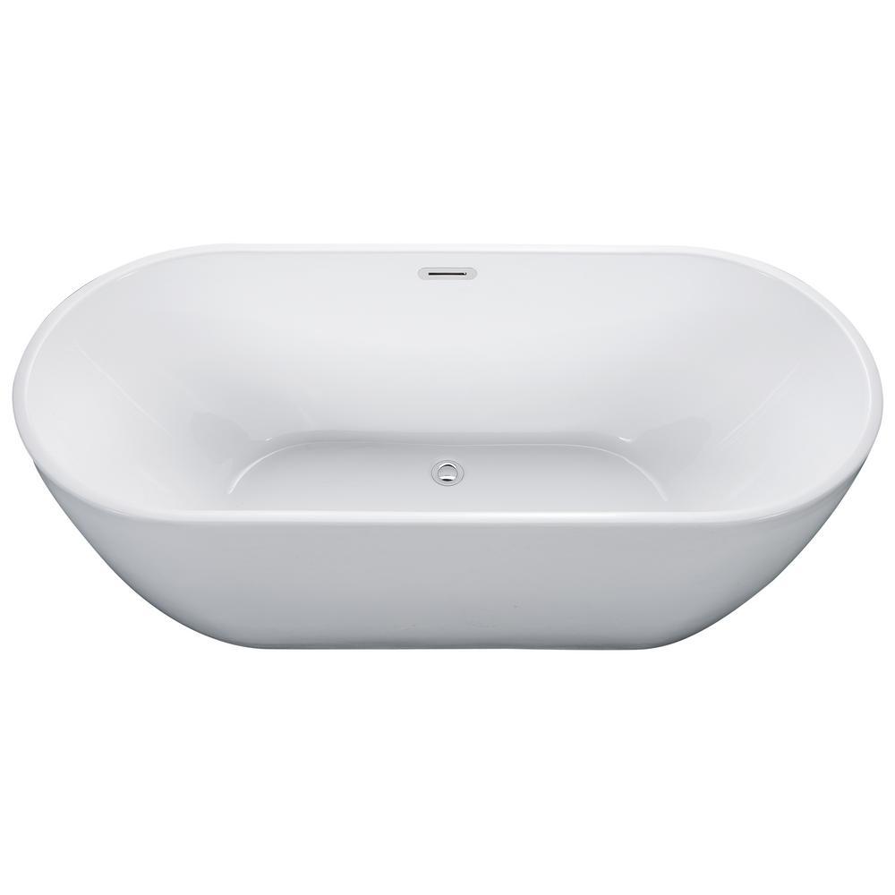 ALFI BRAND 67 in. Acrylic Flatbottom Bathtub in White