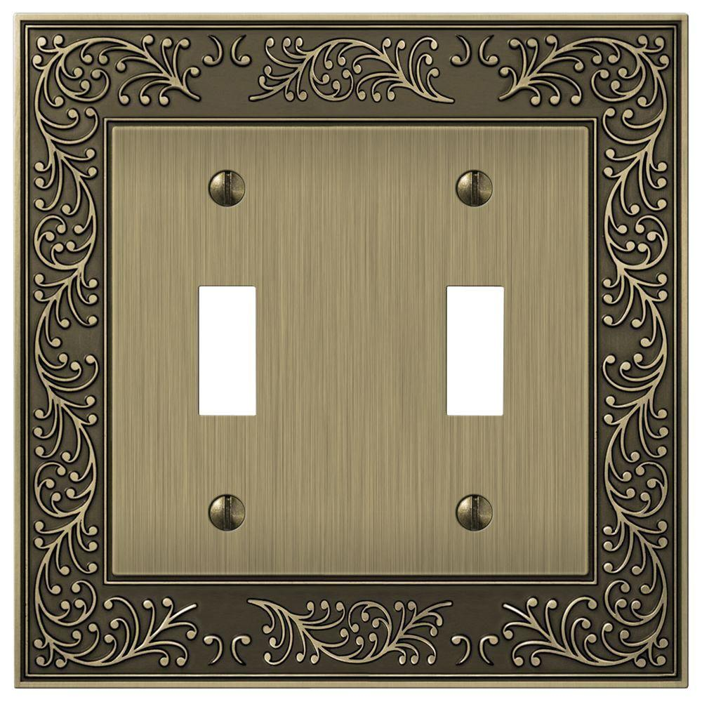 Brass Light Switch Covers Endearing Hampton Bay Bleinhem 2 Toggle Wall Plate  Brushed Brass Cast Decorating Inspiration