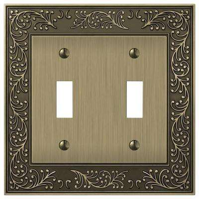Bleinhem 2 Toggle Wall Plate - Brushed Brass Cast